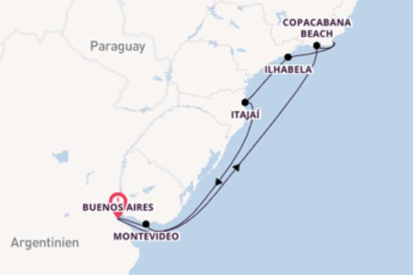 Spannende Kreuzfahrt über Copacabana Beach nach Buenos Aires