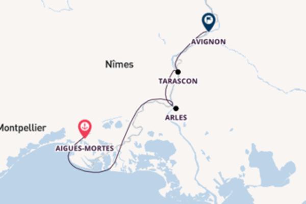 Cruise from Aigues-Mortes to Avignon via Aigues-Mortes
