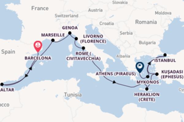 Sailing from Barcelona via Marseille