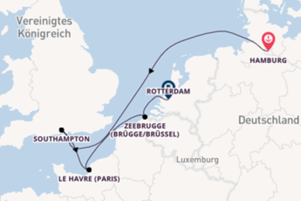 6-tägige Kreuzfahrt von Hamburg nach Rotterdam