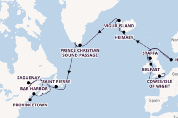 Cruise from London to Boston via Halifax