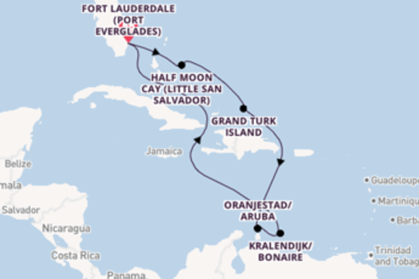 9 day voyage on board the Carnival Freedom  from Fort Lauderdale (Port Everglades)