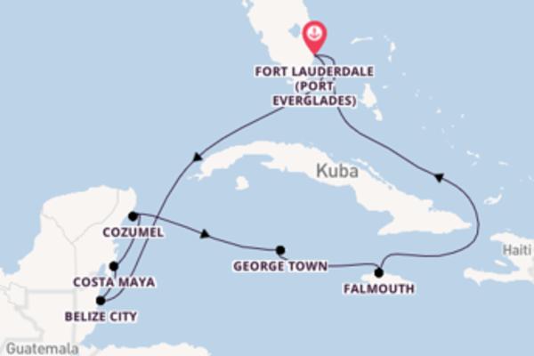 In 9 Tagen nach Fort Lauderdale (Port Everglades) über Belize City