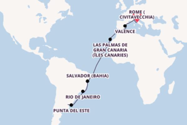 Las Palmas de Gran Canaria (Îles Canaries) et une idyllique croisière depuis Rome (Civitavecchia)