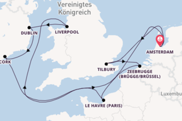 In 10 Tagen nach Amsterdam über Zeebrugge (Brügge/Brüssel)