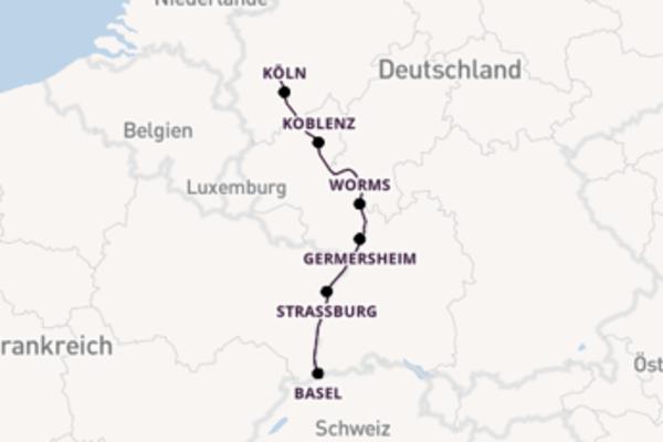 Von Düsseldorf, Deutschland über Basel, Schweiz in 7 Tagen