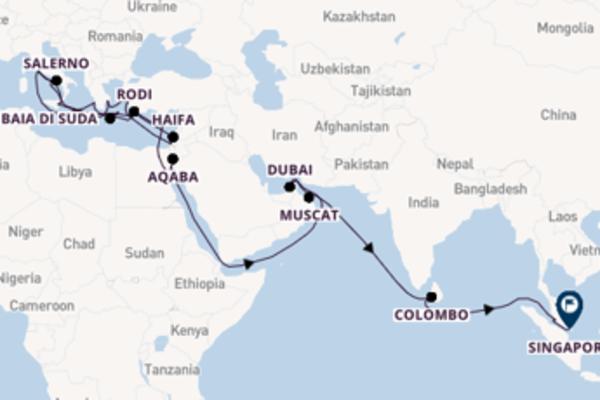 In rotta verso Singapore partendo da Civitavecchia