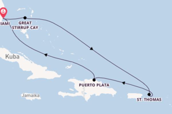 Einzigartige Reise über Great Stirrup Cay in 8 Tagen