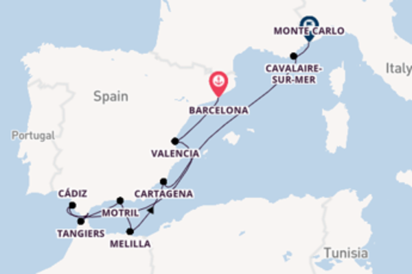Journey with the Seabourn Sojourn to Monte Carlo from Barcelona