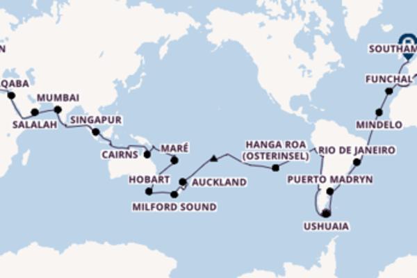 Einzigartige Kreuzfahrt von Genua nach Southampton