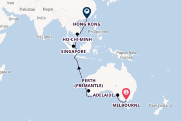 Affascinante crociera di 18 giorni verso Hong Kong