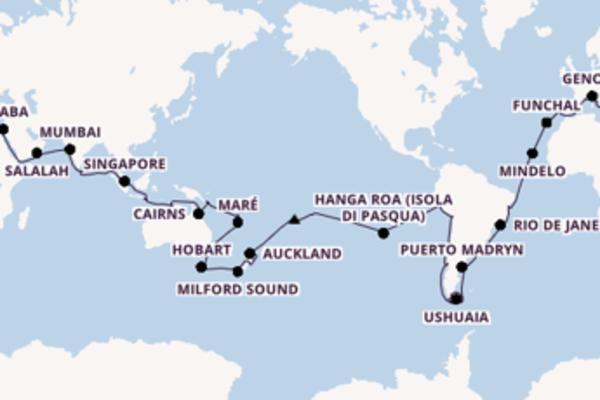 Fare rotta verso Valparaíso, Cile a bordo di MSC Poesia
