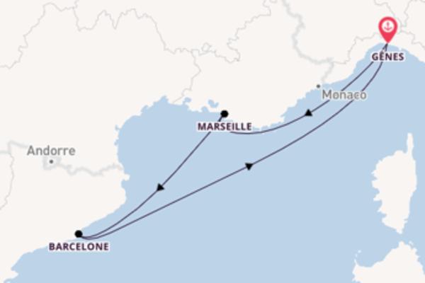 4 jours de navigation à bord du bateau MSC Magnifica vers Gênes
