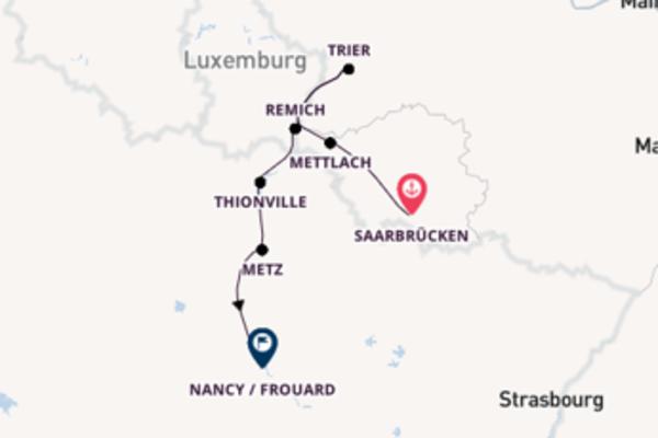 Kreuzfahrt mit Casanova von Saarbrücken nach Nancy / Frouard