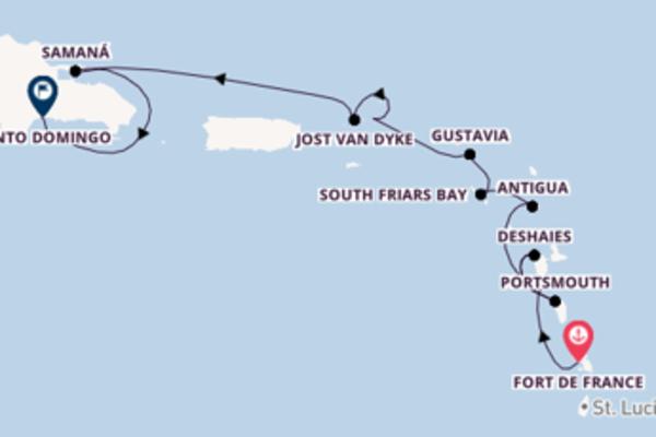 Erkunden Sie Fort de France, Antigua und Santo Domingo