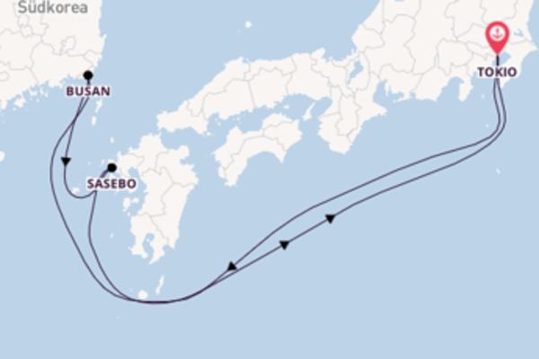 In 6 Tagen nach Tokio über Busan