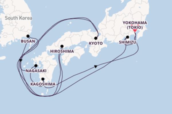 11-daagse cruise met de Nautica vanuit Tokio