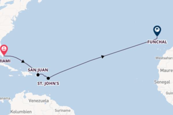 13-tägige Kreuzfahrt von Miami nach Funchal