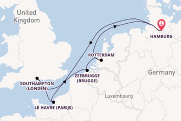 Geniet van een 8-daagse cruise naar Hamburg