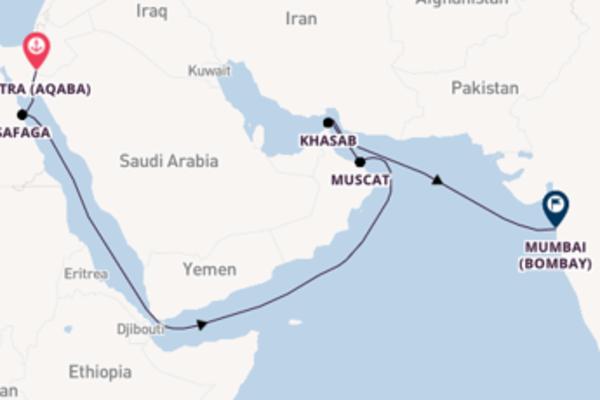 Voyage with Silversea from Petra (Aqaba) to Mumbai (Bombay)