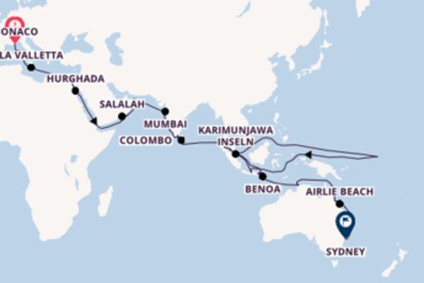 Monaco bis Sydney