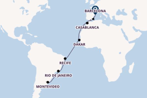 Cruise from Buenos Aires to Barcelona via Rio de Janeiro