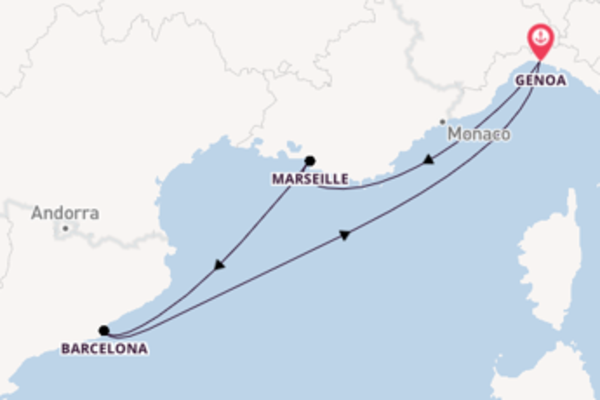 Journey with the MSC Poesia from Genoa