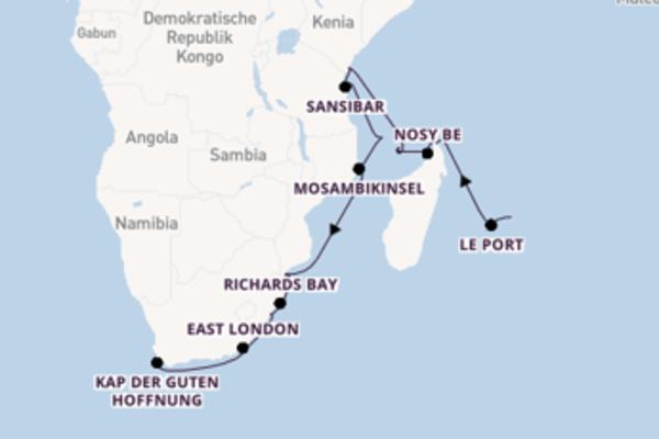 Kreuzfahrtträume zwischen Mauritius, Kenia und Kapstadt