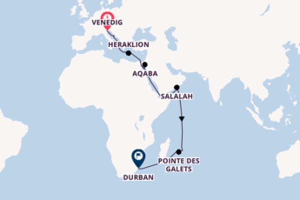 Spannende Kreuzfahrt über Suezkanal Passage nach Durban