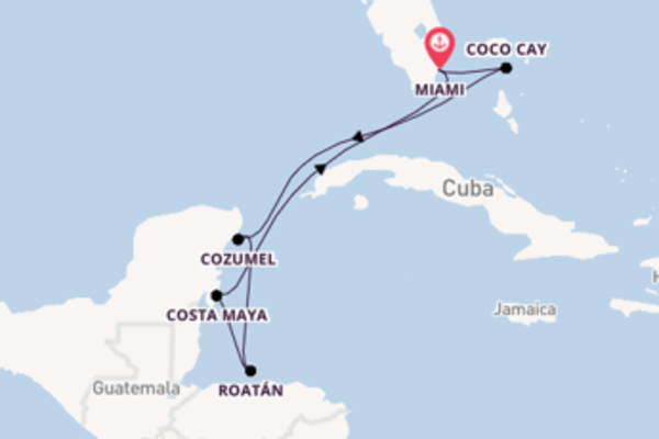 Cruise naar Miami via Cozumel