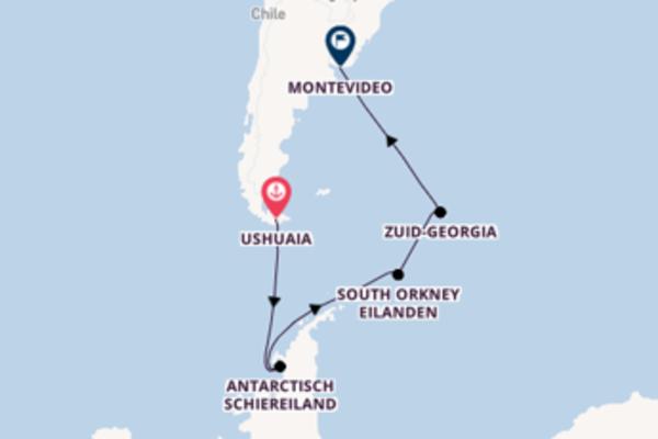 Ontdek Ushuaia, Argentinië, South Orkney Eilanden, Antarctica en Montevideo, Uruguay