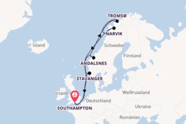 Erleben Sie 13 Tage Tromsø und Southampton