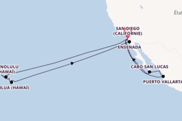 Croisière de 25 jours vers San Diego (Californie) avec Holland America Line