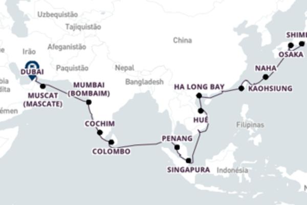 Extraordinário cruzeiro de 37 dias a bordo do Seven Seas Explorer