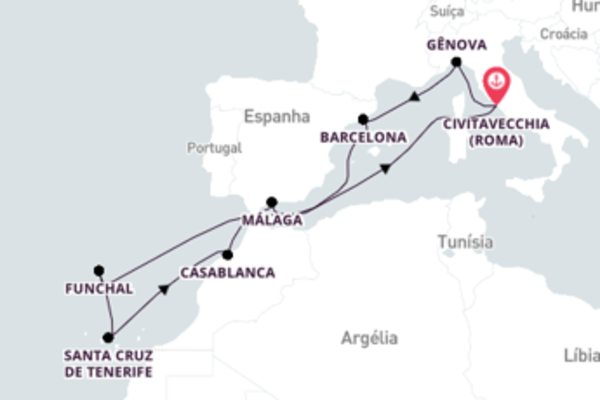 Épica viagem de 12 dias até Civitavecchia (Roma)