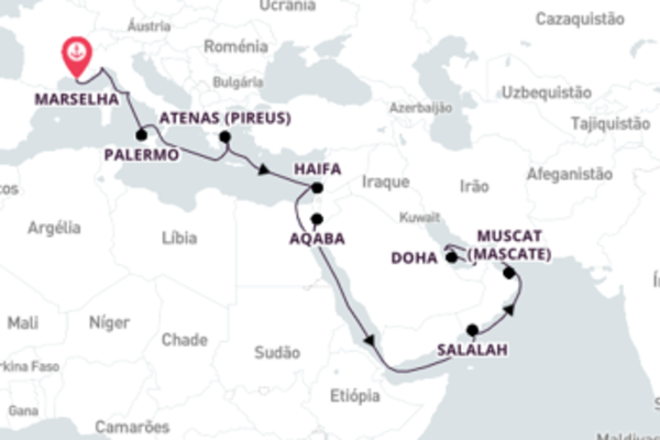 Navegue a bordo do Costa Diadema em 25 dias