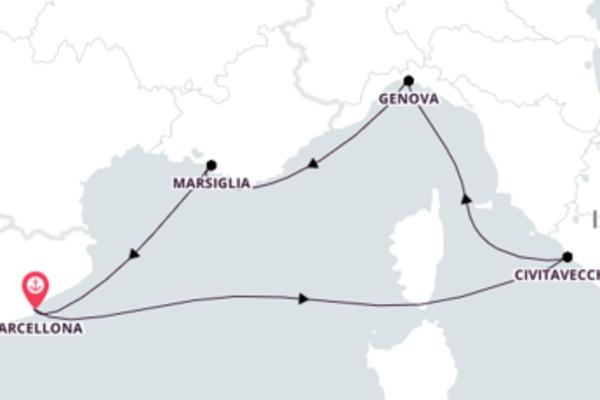 Navigando da Barcellona verso Marsiglia