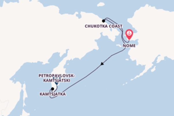Cruise naar Petropavlovsk-Kamtsjatski via Chukotka Coast