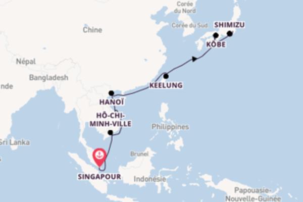 Keelung depuis Singapour pour une croisière de 15 jours