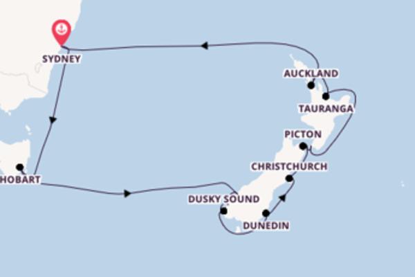 Wunderbare Reise über Dunedin in 16 Tagen