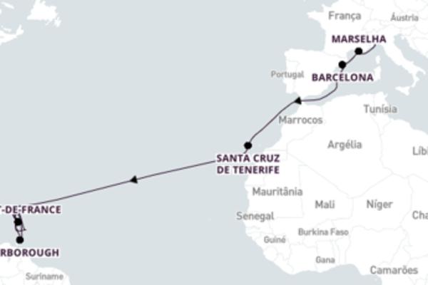Desfrute 23 dias a bordo do Costa Favolosa