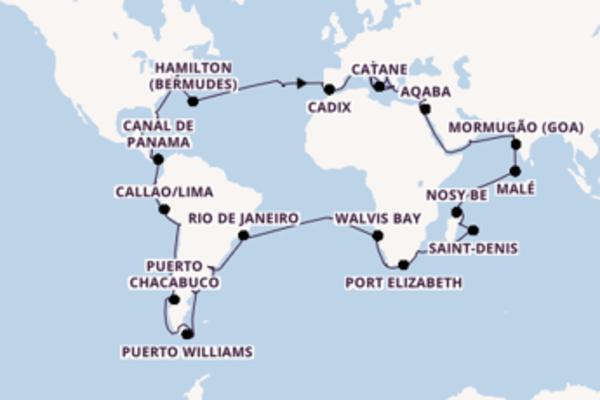 Joyeuse balade de 126 jours à bord du bateau Costa Deliziosa