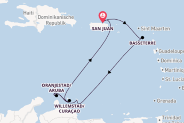 Erleben Sie 8 Tage Oranjestad/Aruba und San Juan