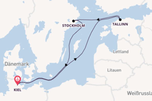 Großartige Reise ab Kiel