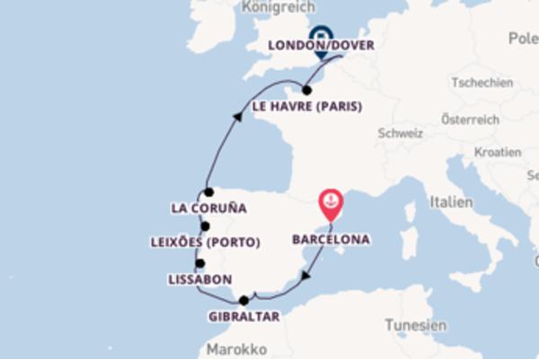 Kreuzfahrt mit Carnival Legend von Barcelona nach London/Dover