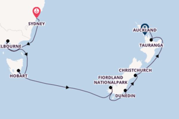 In 13 Tagen nach Auckland