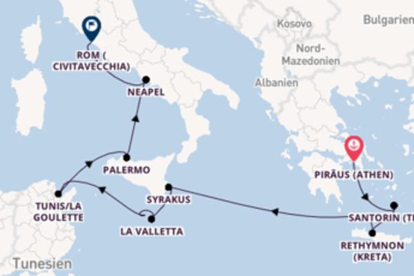 Von Piräus (Athen) über Xlendi (Gozo) in 11 Tagen