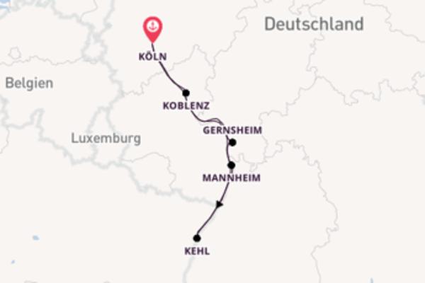 In 5 Tagen nach Köln über Mainz