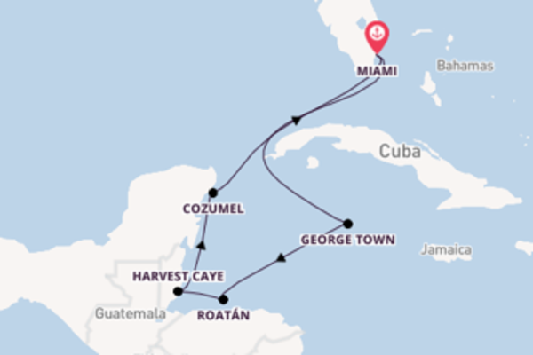 Cruise naar Miami via Harvest Caye