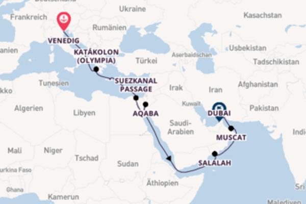 Eindrucksvolle Kreuzfahrt über Salalah nach Dubai
